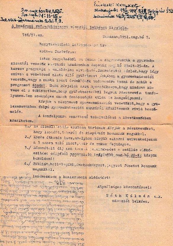 Tóth Kálmán missziói lelkipásztor levele (Felhívás bibliai kurzusra) 1. oldal