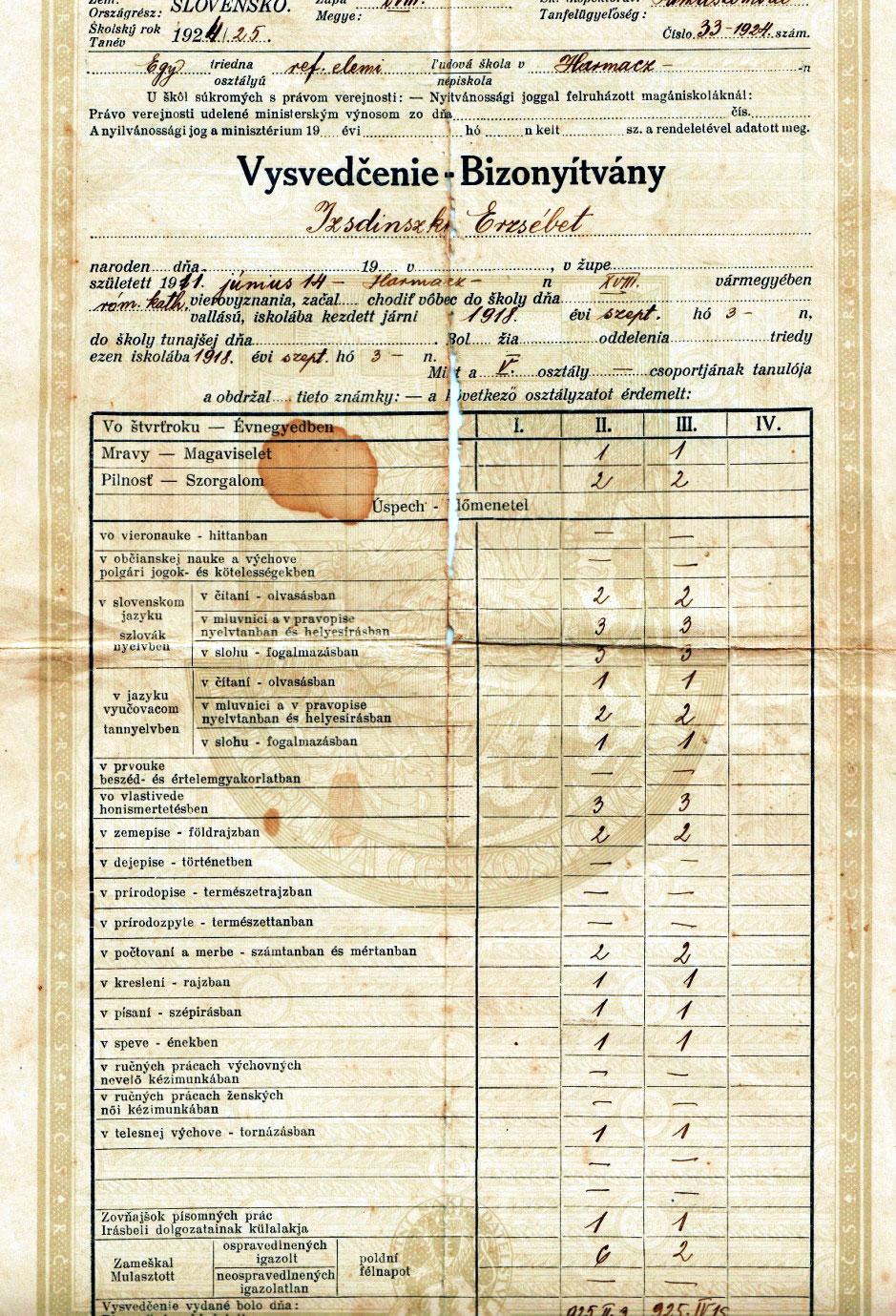 Édesanyám, Isdinszky Erzsébet elemi iskolai bizonyítványa